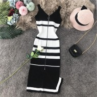 Vestido midi com zíper sem mangas tricô Ref 1947