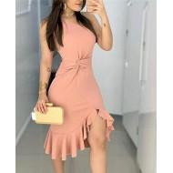 Vestido de festa nózinho na cintura e fenda drapeada Ref 2366