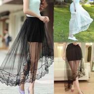 Saia longa cintura alta tela tutu transparente plissada com babados Ref 2286