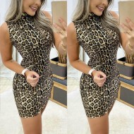 Vestido estampa animal print leopardo Ref 2209