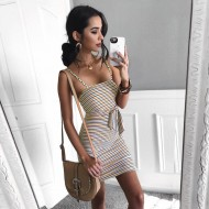 Vestido casual feminino listrado boutique curto Ref 2218