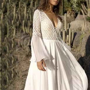 Vestido longo Réveillon manga larga plissado renda e chiffon Ref 2461