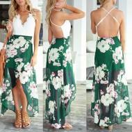 Vestido com saia floral e top de renda Ref 2416