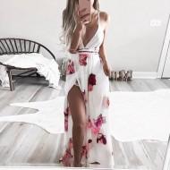 Vestido longo floral decote em V com fenda Ref 2112