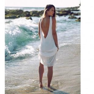 Vestido de praia longo verão costas abertas branco Réveillon Ref 2334