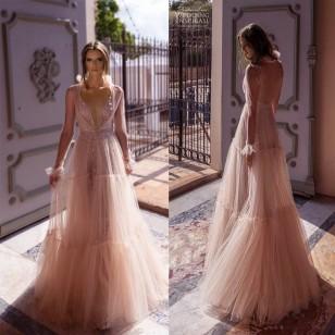 Vestido longo de festa sem mangas decote V chiffon pré wedding Ref 2346