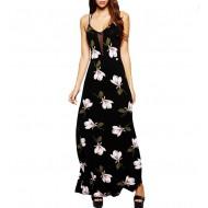 Vestido longo floral preto de alcinhas Ref 2857