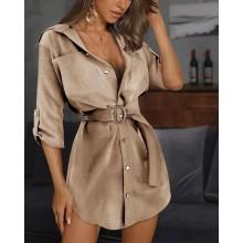 Vestido estilo camisa de botão com cinto manga três quartos Ref 3006
