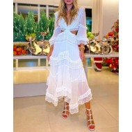 Vestido branco de manga longa soltinho Ref 3022