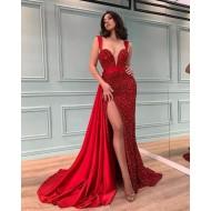 Vestido longo vermelho de madrinha com fenda Ref 3038