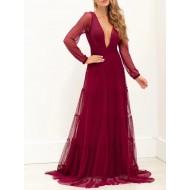 Vestido de madrinha cor marsala manga longa Ref 3035