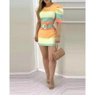 Vestido Juliette clean colors verão com cinto Ref 2894