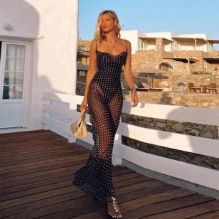 Vestido longo de poá praia sereia blogueira Ref 2990