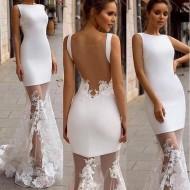 Vestido de noiva simples civíl com saia longa transparente Ref 3034