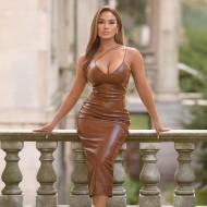 Vestido de couro midi luxo com fenda traseira Ref 2874