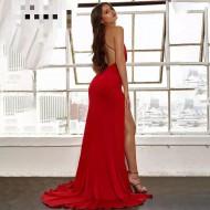 Vestido vermelho de gala longo costas abertas e fenda Ref 3267