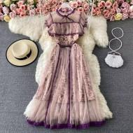 Vestido vintage elegante florido com babados Ref 3219