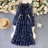 Vestido azul floral camponesa Ref 3221