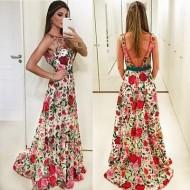 Vestido longo com bordado de rosas vermelhas Ref 3222
