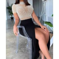 Vestido de festa com pérolas cintura alta com divisão Ref 3242