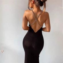 Vestido de festa preto com alças de corrente aberto nas costas Ref 3430