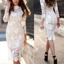 Vestido branco de renda crochê midi noiva Réveillon Ref 3440