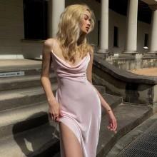 Vestido de festa rosa pastel com fenda Ref 3431