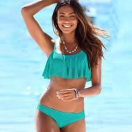 Biquíni Tiffany esportivo renda top com babados Ref 2089