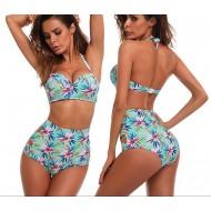 Biquíni cintura alta estampa floral praia roupas de natação Ref 2207