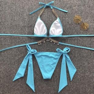 Biquíni azul Tiffany com pedrarias e pingentes Ref 2036