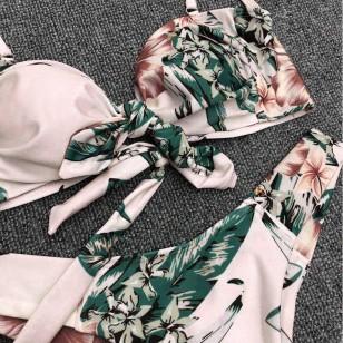 Biquíni conjunto calcinha e sutiã com ombreiras estampa floral Ref 2373