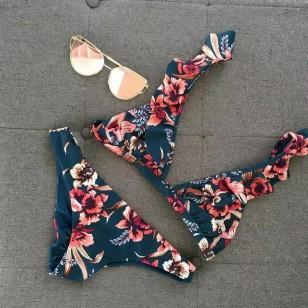 Biquini floral com calcinha empina bumbum Ref 118
