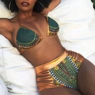 Biquíni estampa Afro cintura alta Ref 410
