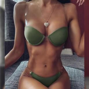 Biquíni verde militar com alça transparente Ref 567