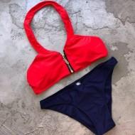 Biquíni top vermelho com zíper e tanga azul Ref 736