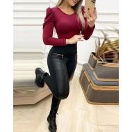 Calça de couro cintura alta com bolso de zíper Ref 3274