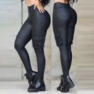 Calça preta hot pants couro com bolsos street Ref 3442