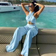 Conjunto de luxo elegante cetim seda top e calça Ref 3059